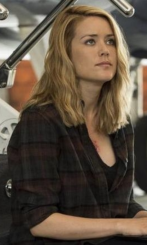 Megan Boone with Rag & Bone 'Beau' Plaid Shirt in The Blacklist