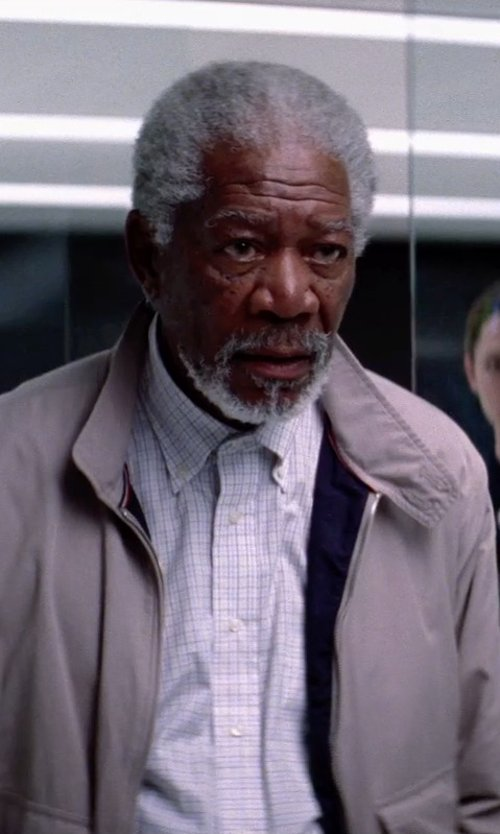Morgan Freeman with Gitman Brothers 'Gitman Gold' Tan and Blue Tattersall Broadcloth Shirt in Transcendence