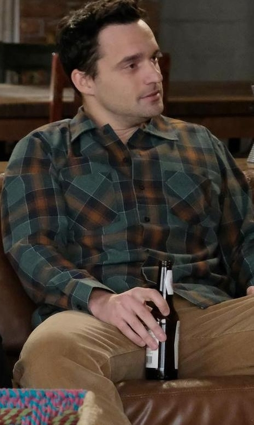 Jake Johnson with Public School Plaid Button-Down Shirt in New Girl