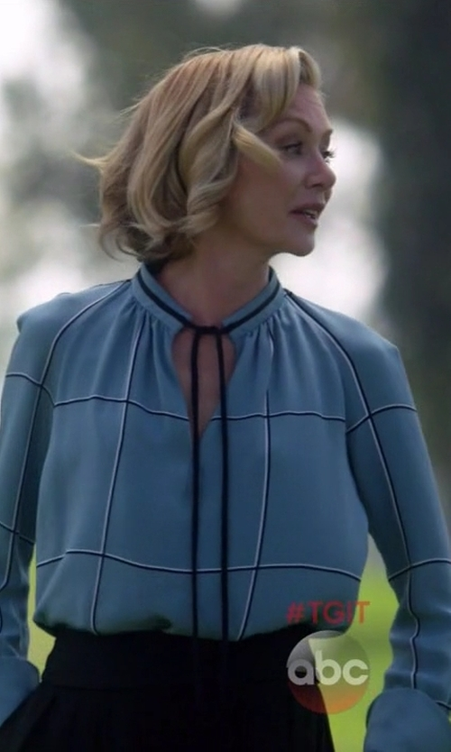 Portia de Rossi with Derek Lam Tied Neck Blouse in Scandal