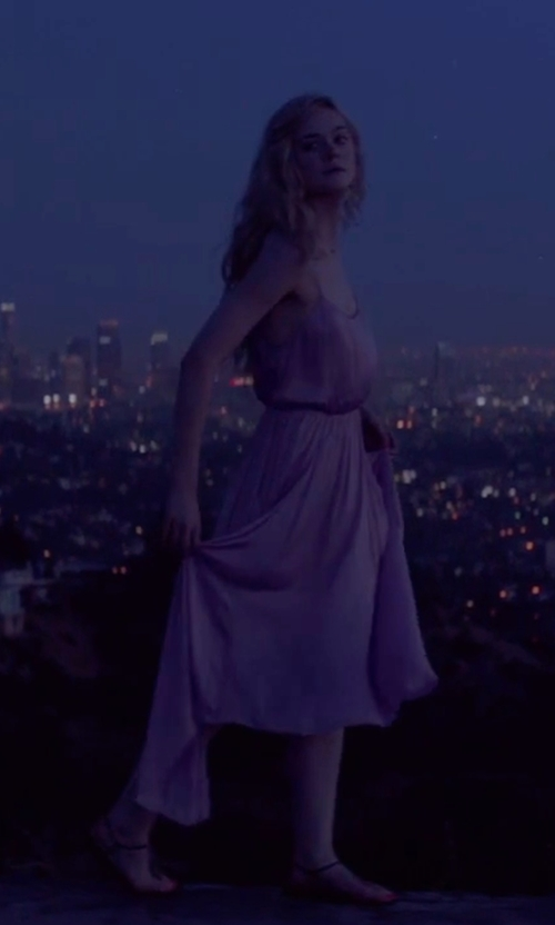 Elle Fanning with BCBGMAXAZRIA Isadona Pleated Maxi Dress in The Neon Demon