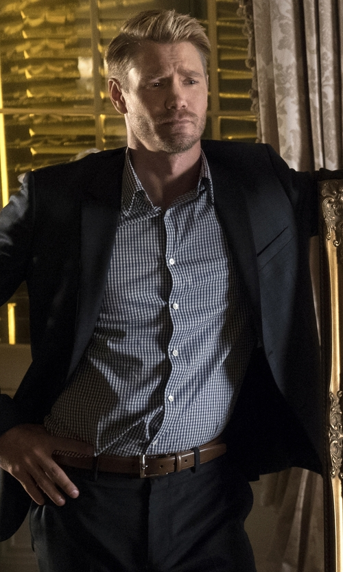 Chad Michael Murray with W.R.K. Extra Trim Fit Check Dress Shirt in Scream Queens