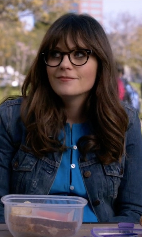 Zooey Deschanel with Burberry Timberdale Denim Jacket in New Girl