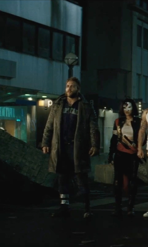 Jai Courtney with DashX Classic Leather Trench Coat in Suicide Squad