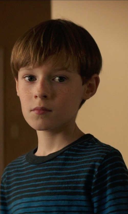Kyle Catlett with Brooks Brothers Micro Stripe Crewneck Sweater in Poltergeist