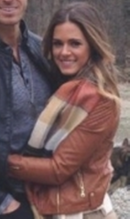 JoJo Fletcher with Express Quilted Shoulder (Minus The) Leather Jacket in The Bachelorette