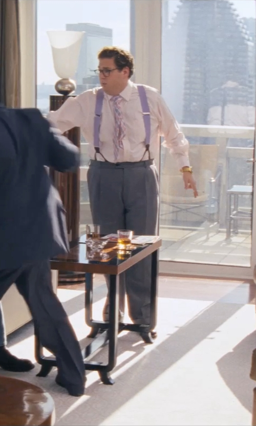 Jonah Hill with RALPH LAUREN PURPLE LABEL Aston End-on-End Shirt in The Wolf of Wall Street