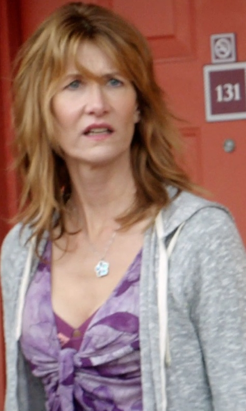 Laura Dern with Karen Kane 'Reflection' Print Twist Knot Top in 99 Homes