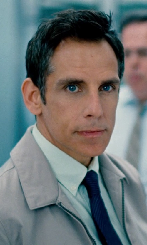Ben Stiller with Armani Navy and Black Striped Silk Tie in The Secret Life of Walter Mitty