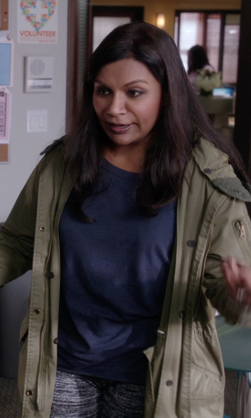 Mindy Kaling with Maison Scotch Bomber Parka Coat in The Mindy Project