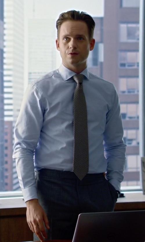 Patrick J. Adams with Ermenegildo Zegna Light Blue French-Collar Shirt in Suits