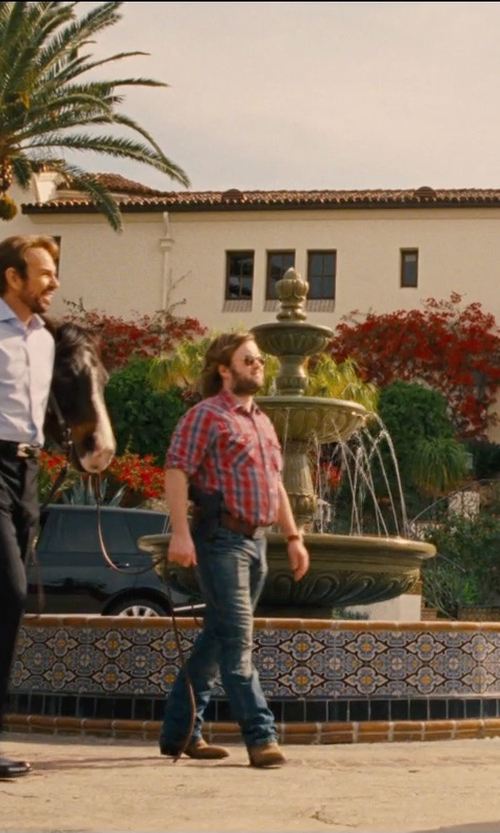 Haley Joel Osment with Gucci Studded Interlocking G Buckle Belt in Entourage