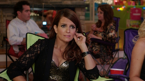 Tina Fey with Alexis Bittar Crystal & Leather Wrap Bracelet in Sisters