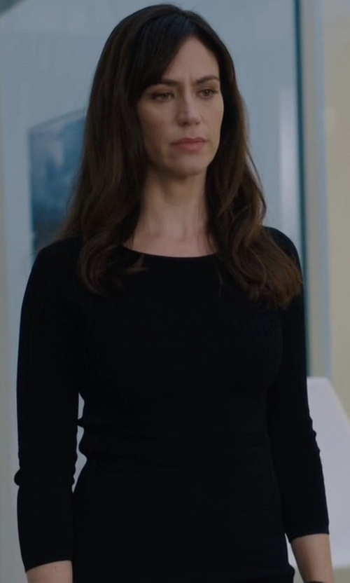Maggie Siff with Elizabeth and James Penny Long Sleeved Ribbed Knit Dress in Billions