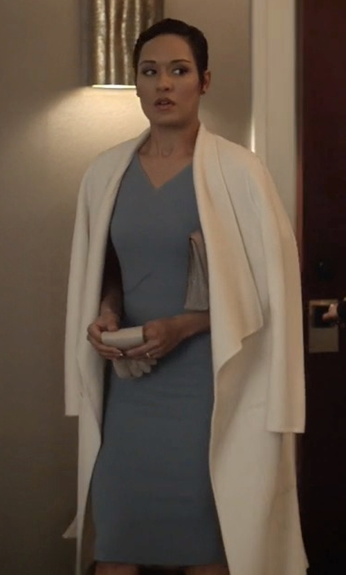 Grace Gealey with Roland Mouret Tournay Wool Sheath Dress in Empire