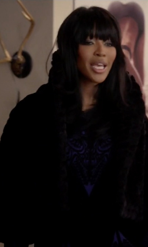 Naomi Campbell with The Fur Salon Hooded Mink Fur Coat in Empire