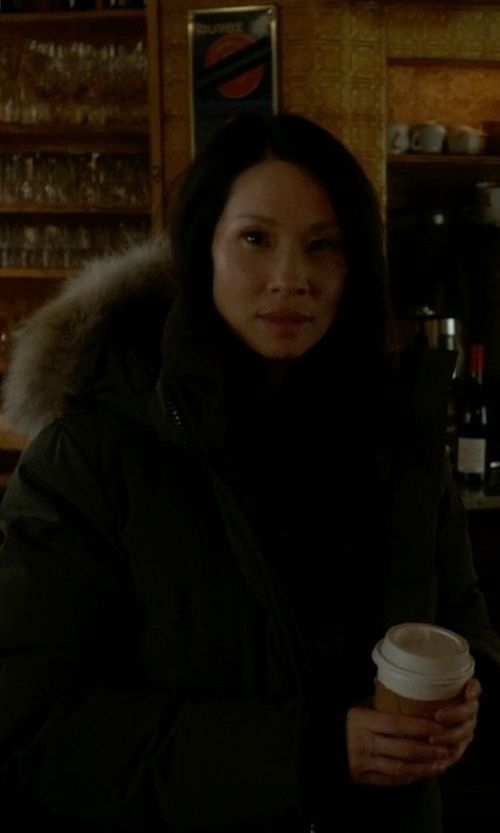 Lucy Liu with Canada Goose Shelburne Parka Jacket in Elementary