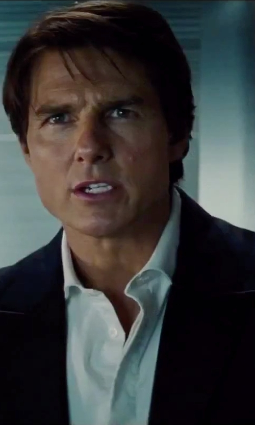 Tom Cruise with Turnbull & Asser Solid Poplin Dress Shirt in Mission: Impossible - Rogue Nation
