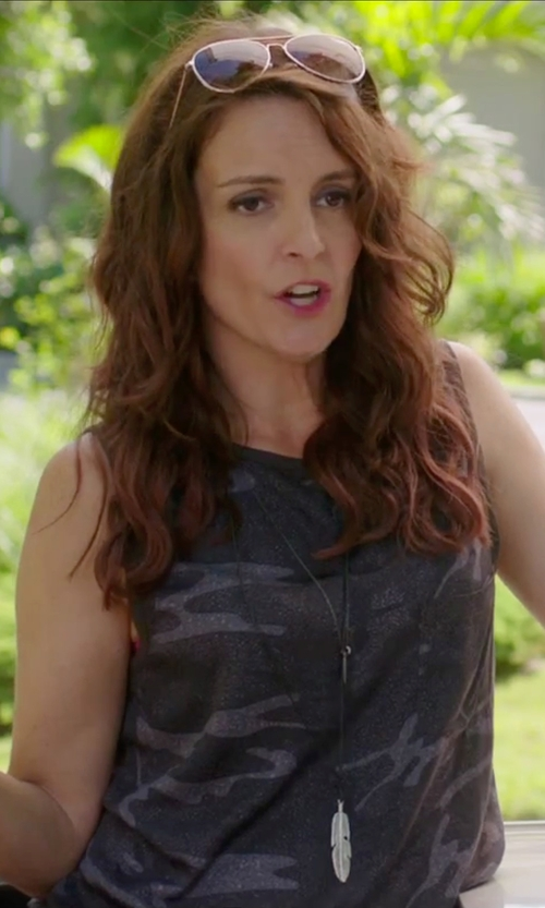 Tina Fey with Current/Elliott Sleeveless Camo Muscle Tee in Sisters