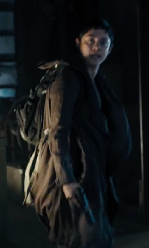 Rosa Salazar with Silence + Noise Waylin Asymmetrical Parka Jacket in Maze Runner: The Scorch Trials