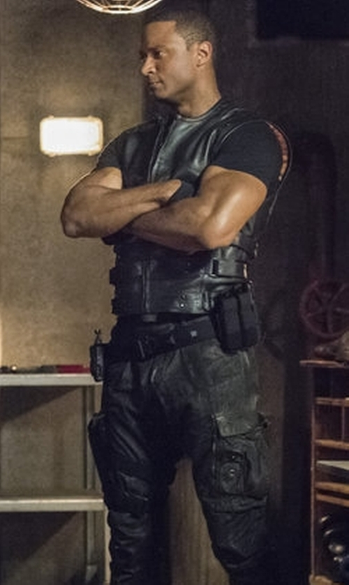 David Ramsey with Maya Maya Mani (Costume Designer) Custom 'Diggle' Costume in Arrow