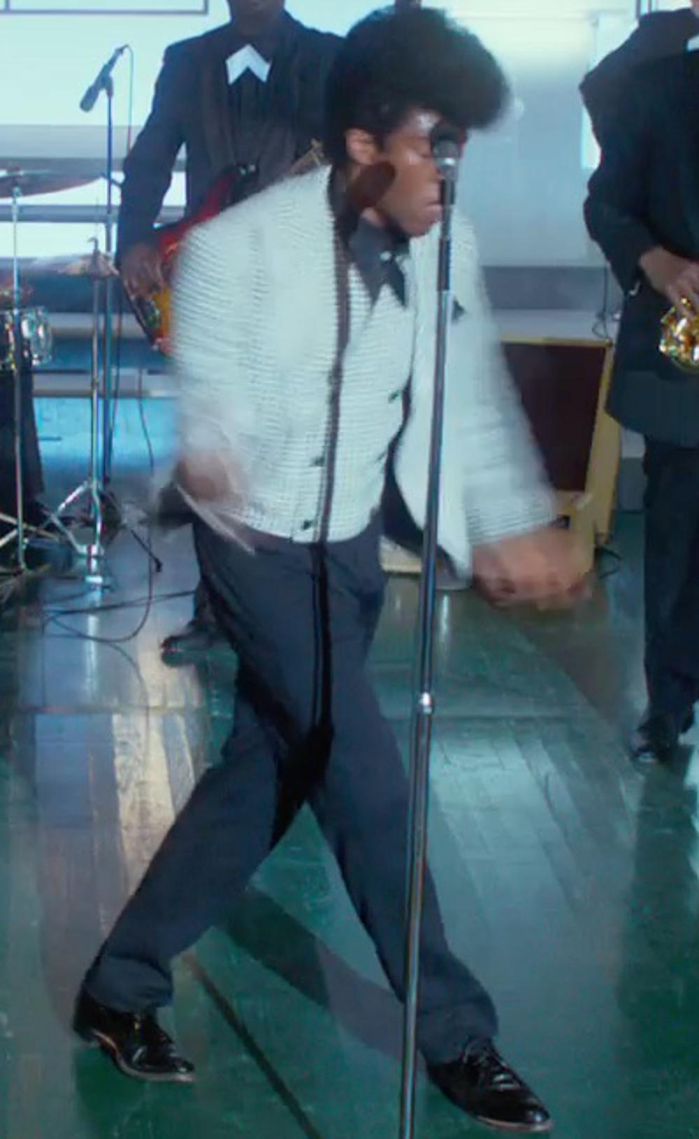 Chadwick Boseman with Apolis Indigo Wool Pants in Get On Up