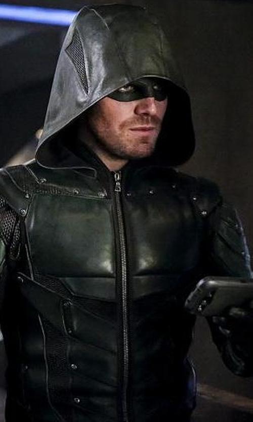 Stephen Amell with Maya Mani (Costume Designer) Custom Made Green Arrow Suit in Arrow