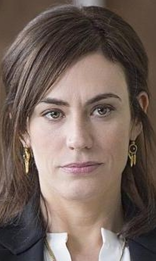 Maggie Siff with Jules Smith Crystal Fringe Earrings in Billions