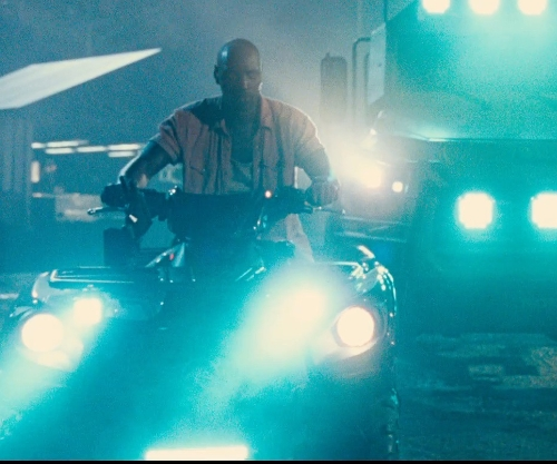 Omar Sy with Polaris Sportsman 850 ATV in Jurassic World