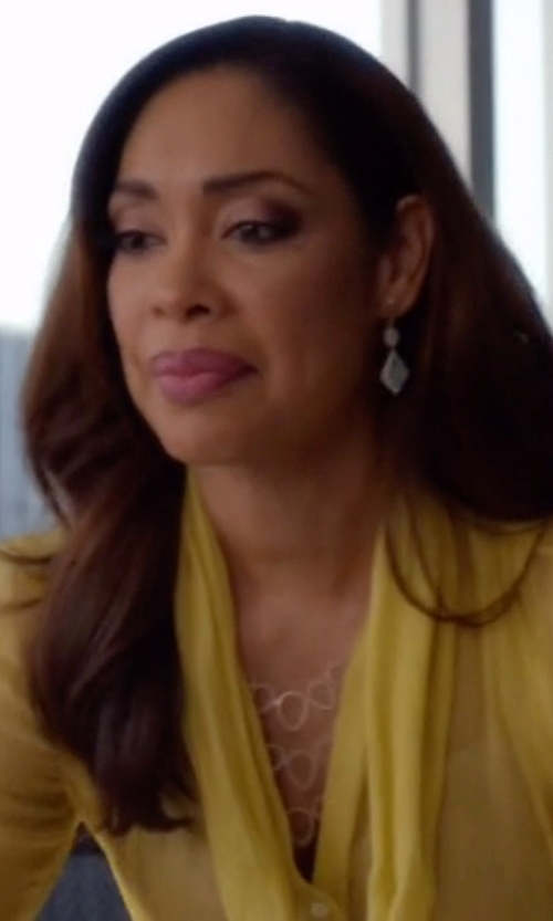 Gina Torres with Devon Leigh Rhodium Electroplate Multi-Circle Necklace in Suits