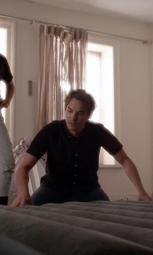 Tyler Blackburn with M. Grifoni Casual Pants in Pretty Little Liars