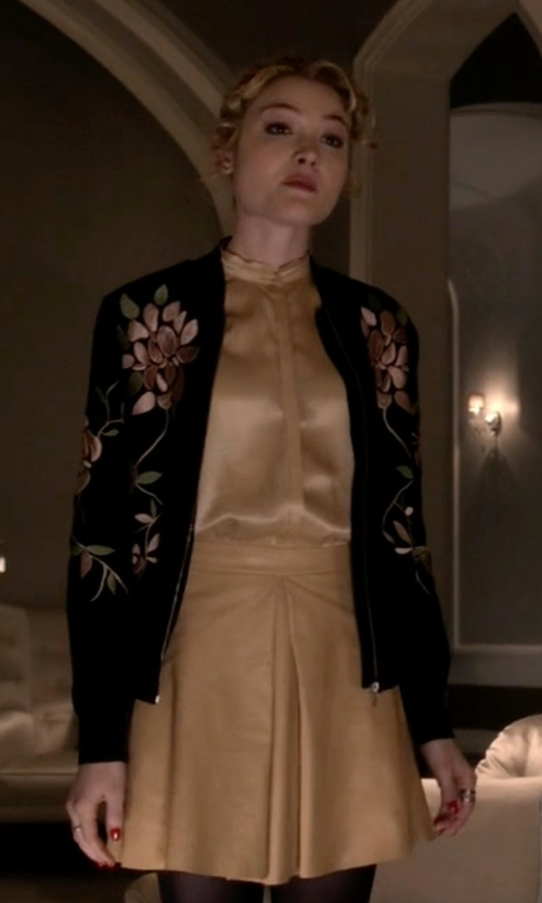 Skyler Samuels with Alice + Olivia Russo Leather Inverted Pleat Skirt in Scream Queens
