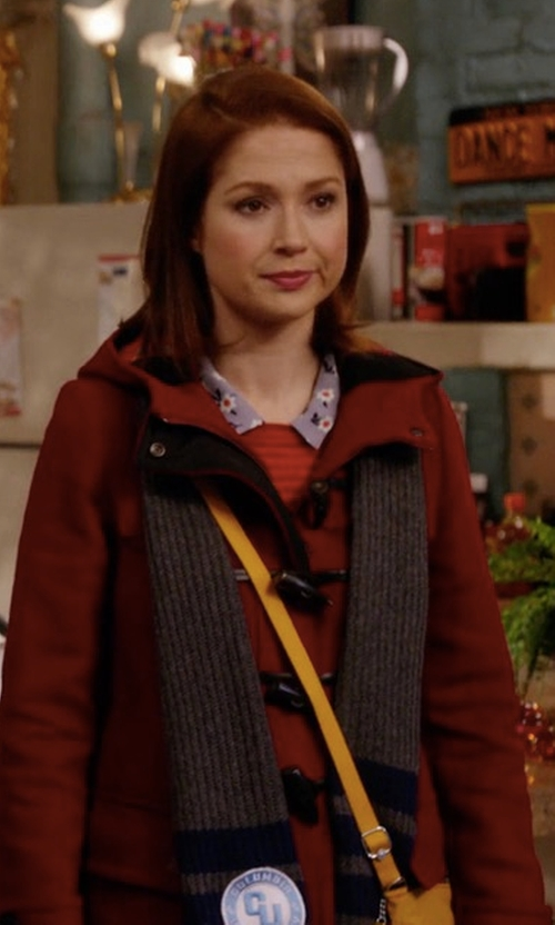 Ellie Kemper with Burberry Baysbrooke Wool Duffle Coat in Unbreakable Kimmy Schmidt