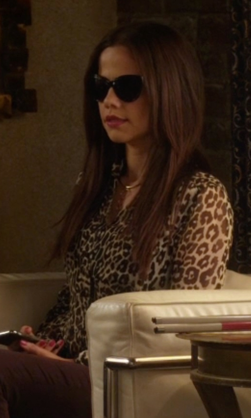 Tammin Sursok with Equipment Signature Leopard-Print Slim Blouse in Pretty Little Liars