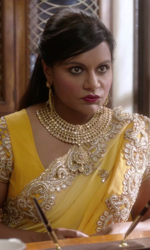 Mindy Kaling with VinHem Fashion Embellished Yellow Chiffon Saree in The Mindy Project