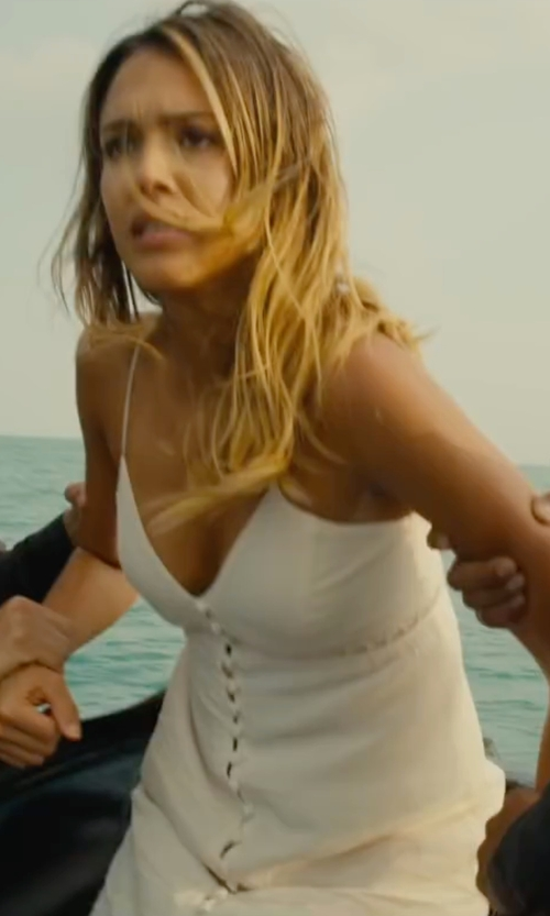Jessica Alba with Lovers + Friends Curacao Slip Dress in Mechanic: Resurrection