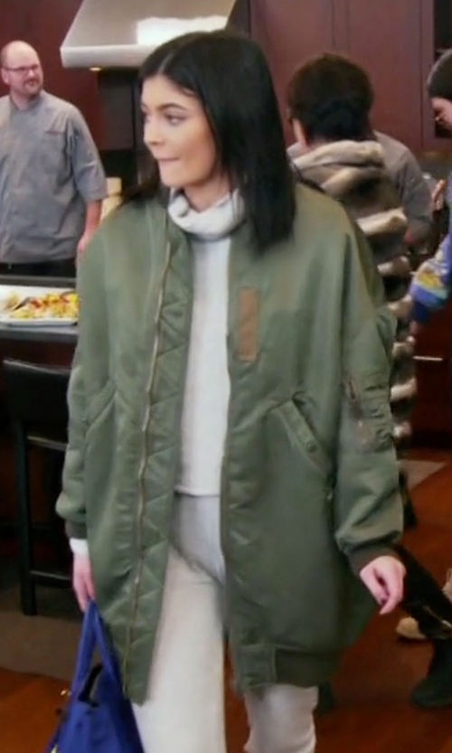 Kylie Jenner with R13 Oversized Bomber Jacket in Keeping Up With The Kardashians