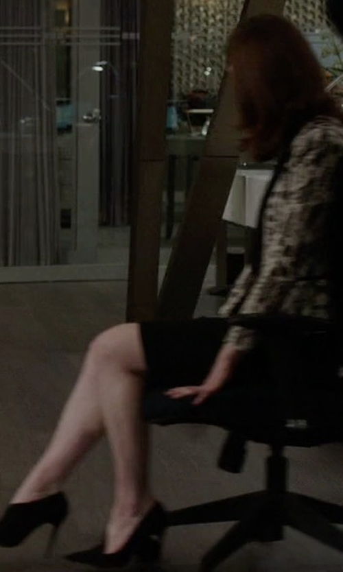 Rose Leslie with Stuart Weitzman Rhythm Split Suede High Booties in The Good Fight