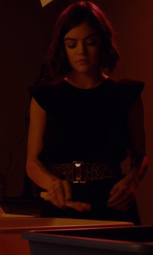 Lucy Hale with Sognimiei Leather Dress Strap Waist Belt in Pretty Little Liars