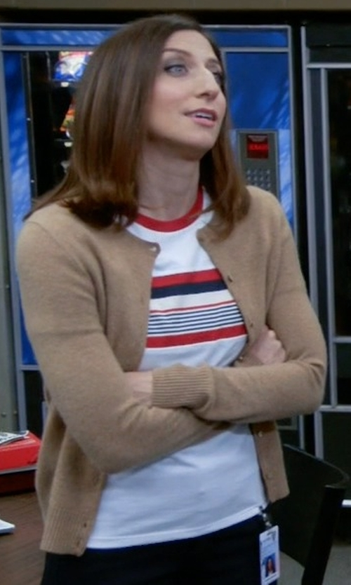 Chelsea Peretti with Prada Luna Rossa Stripe T-Shirt in Brooklyn Nine-Nine