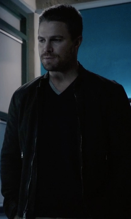 Stephen Amell with John Varvatos Leather Zip Jacket in Arrow