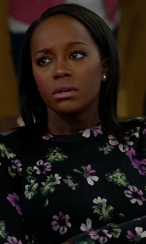 Aja Naomi King with Equipment 'Sloane' Floral Print Silk-Cashmere Sweater in How To Get Away With Murder