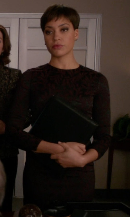 Cush Jumbo with J. Mendel Long-Sleeve Lace-Inset Shift Dress in The Good Wife