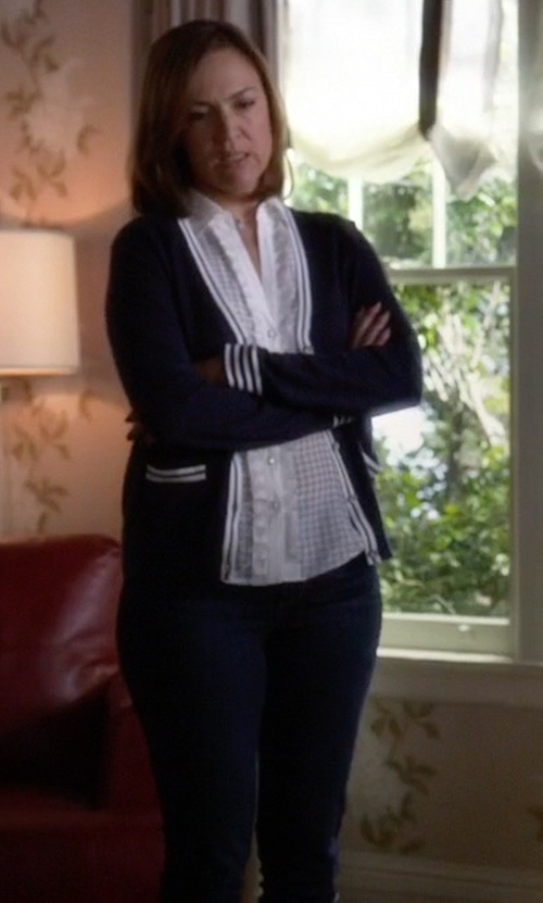 Lesley Fera with 7 For All Mankind Cropped High Waist Vintage Straight W/ Raw Hem In Slim Illusion Rich Noir in Pretty Little Liars