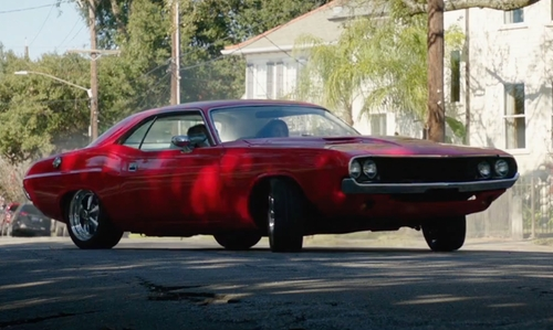 Mila Kunis with Dodge 1970 Challenger Coupe in Bad Moms