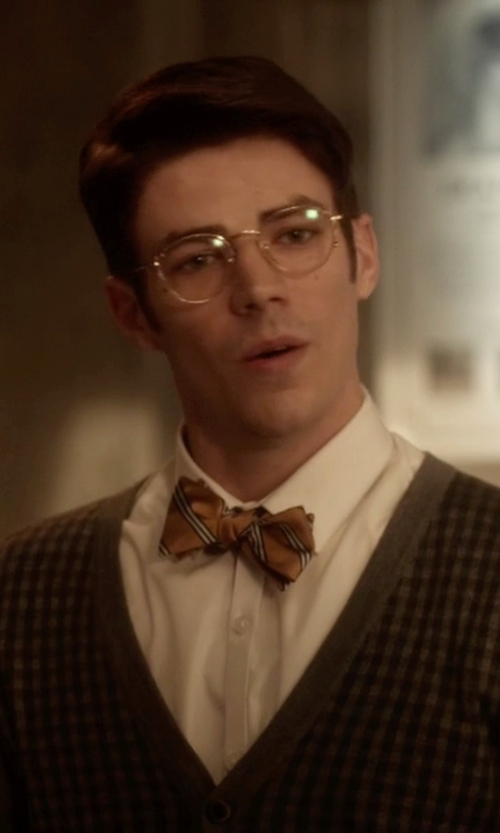 Grant Gustin with Brooks Brothers Stripe Bow Tie in The Flash