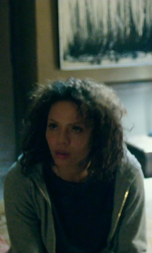 Carmen Ejogo with Lands' End School Uniform Big Long Sleeve Full-Zip Hoodie Sweatshirt in The Purge: Anarchy