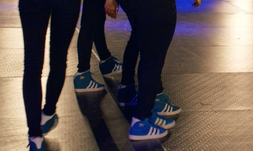 Ester Dean with Adidas Basket Profi Up W True Blue in Pitch Perfect 2