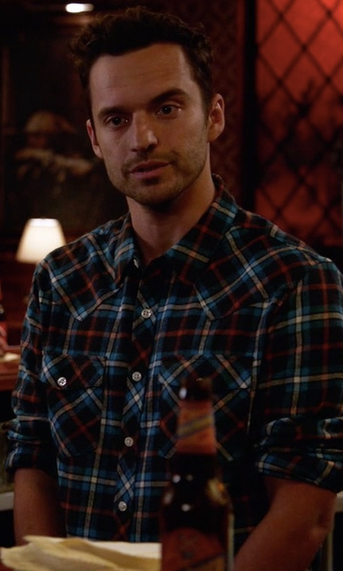 Jake Johnson with Vince Plaid Flannel Military Shirt in New Girl