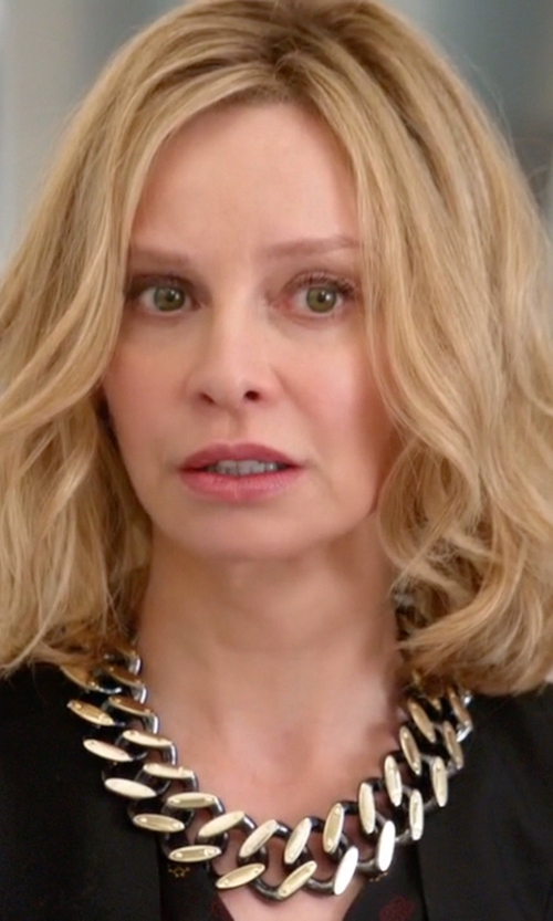 Calista Flockhart with Adriana Orsini  Hammered Chunky Link Collar Necklace in Supergirl
